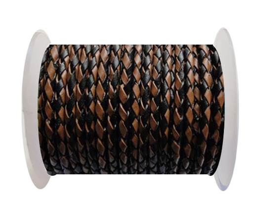 Round Braided Leather Cord SE/B/26-Black-Brown - 3mm