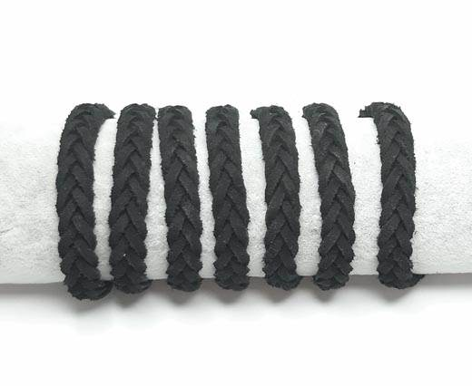 Thick Flat Suede Braided -10mm-Black