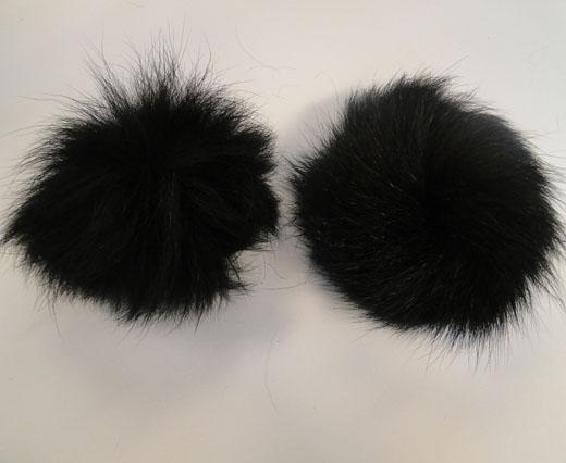 Fox Fur Pom Pom -Black-10cms