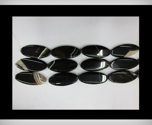Buy Black Line Oblong Flat Agate NS-067 at wholesale prices