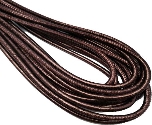 Round Stitched Nappa Leather Cord-4mm-black red