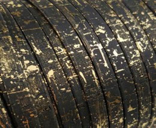 Cork Flat-20mm-Black with golden flecks
