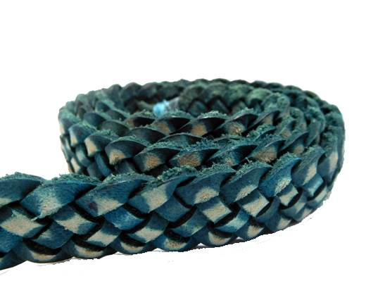Flat braided cord - 20mm by 4mm - Vintage Blue