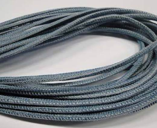 Round stitched nappa leather cord 2.5MM-Lizard style-Blue