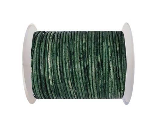 Round leather cord-2mm- Vintage BOTTLE GREEN (V033)