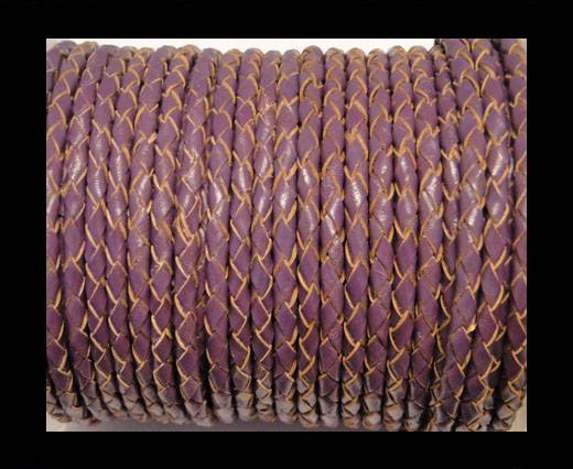 Round Braided Leather Cord SE/B/2004-Purple - 4mm