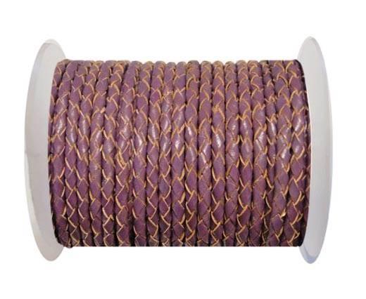 Round Braided Leather Cord SE/B/2004-Purple - 4mm