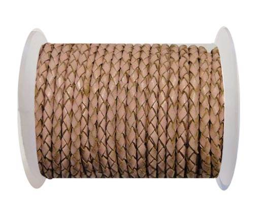 Round Braided Leather Cord SE/B/2006-Salmon - 4mm
