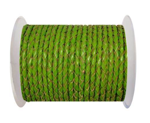 Round Braided Leather Cord SE/B/2009-Green Grass - 4mm