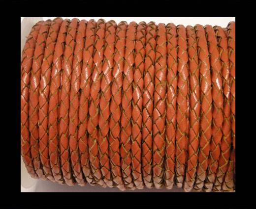 Round Braided Leather Cord SE/B/2010-Rust - 4mm