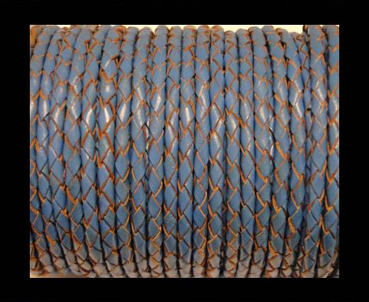Round Braided Leather Cord SE/B/2012-Sky blue - 4mm
