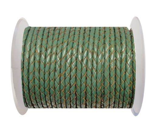 Round Braided Leather Cord SE/B/2015-Forest Green - 4mm