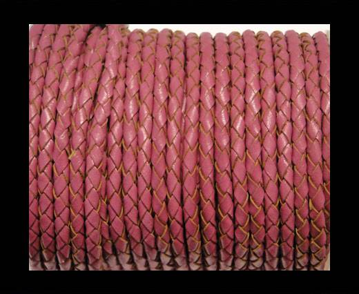 Round Braided Leather Cord SE/B/2017-Berry - 4mm