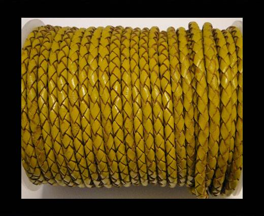 Round Braided Leather Cord SE/B/2020-Mustard - 4mm