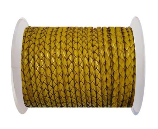Round Braided Leather Cord SE/B/2020-Mustard - 4mm