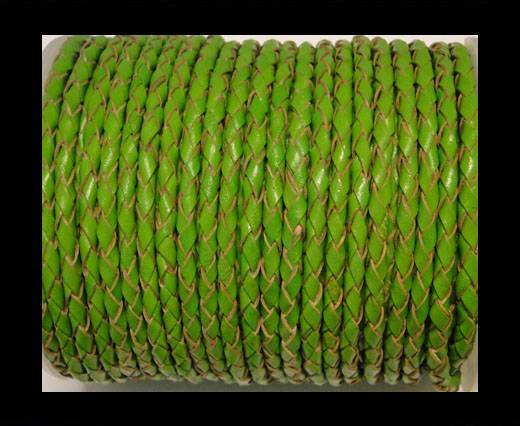 Round Braided Leather Cord SE/B/2009-Green Grass - 5mm