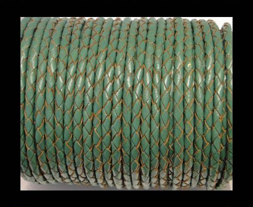 Round Braided Leather Cord SE/B/2015-Forest Green - 5mm