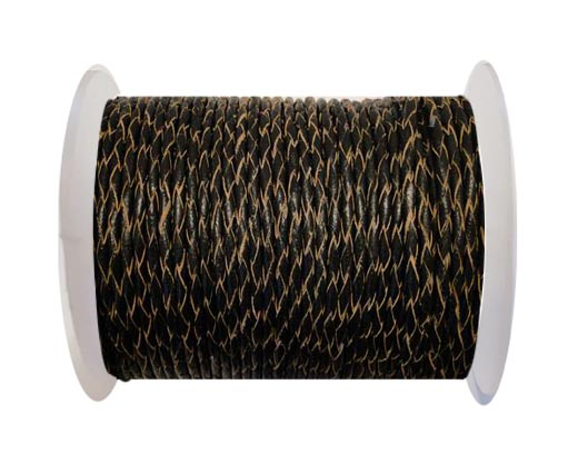Round Braided Leather Cord SE/R/02-Black-natural edges - 4mm