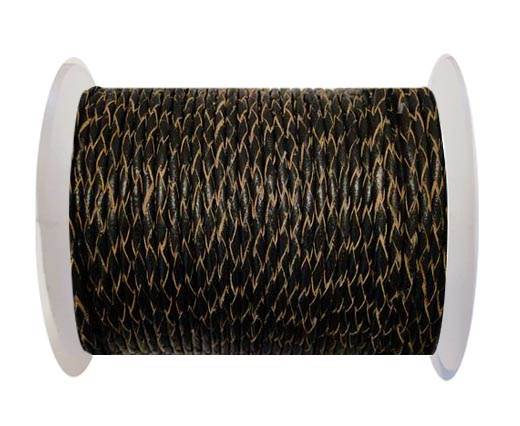 Round Braided Leather Cord SE/R/02-Black-natural edges - 6mm
