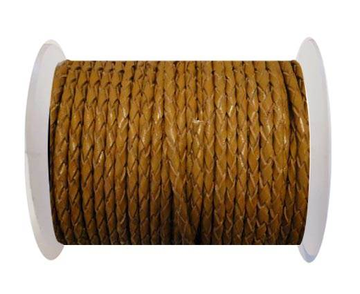 Round Braided Leather Cord SE/B/2008-Saddle Brown - 4mm