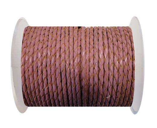 Round Braided Leather Cord SE/B/2014-Pink - 4mm