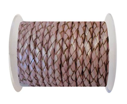 Round Braided Leather Cord SE/M/01/Metallic Pink - 5mm