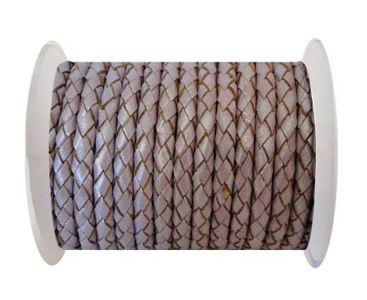 Round Braided Leather Cord SE/M/07-Metallic Lavender - 5mm