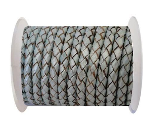 Round Braided Leather Cord SE/M/14-Metallic Baby blue - 4mm