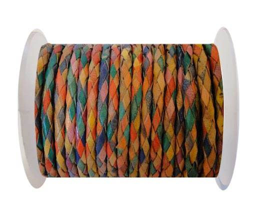 Round Braided Leather Cord SE/MD/01-Multicoloured - 6mm
