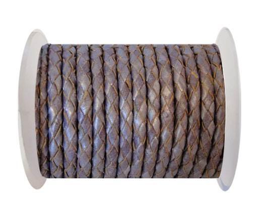 Round Braided Leather Cord SE/M/Metallic Purple - 4mm