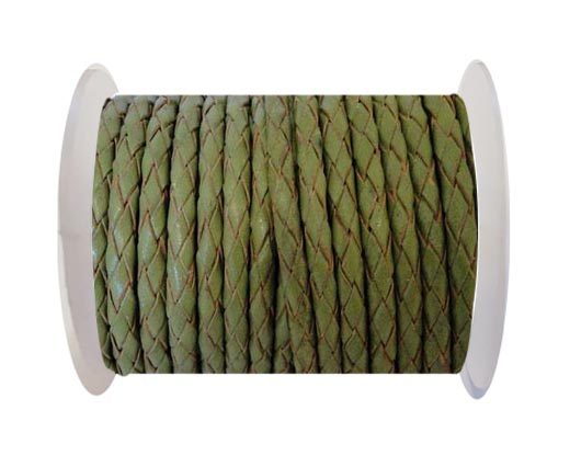 Round Braided Leather Cord SE/R/22-Olive Green - 4mm