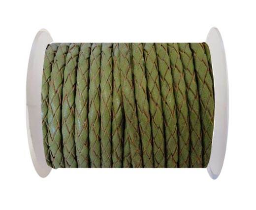Round Braided Leather Cord SE/R/22-Olive Green - 6mm