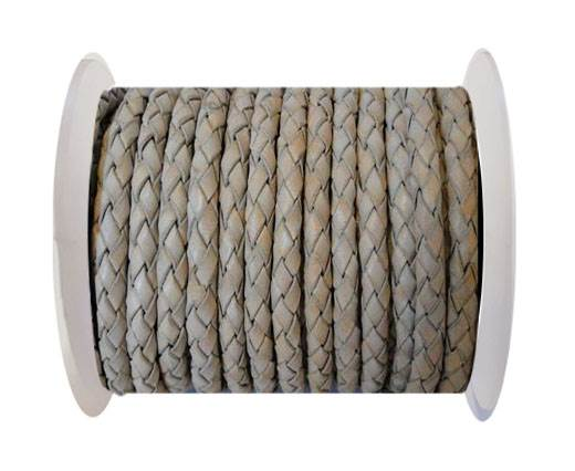 Round Braided Leather Cord SE/PB/Vintage Light Grey - 4mm