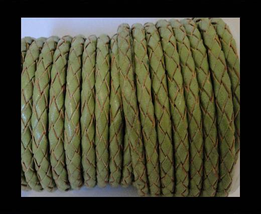 Round Braided Leather Cord SE/R/22-Olive Green - 5mm