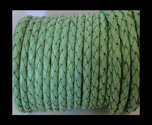Round Braided Leather Cord SE/B/2034-Light Mint - 6mm