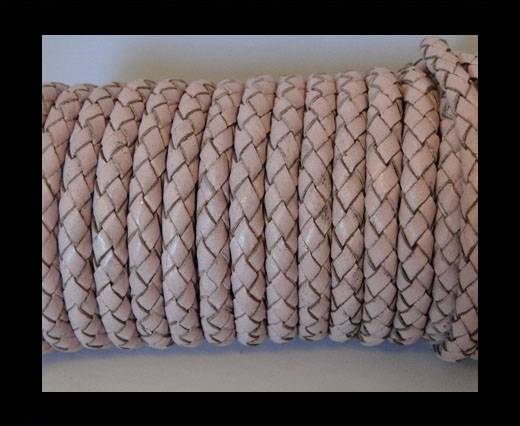 Round Braided Leather Cord SE/B/2033-Baby Pink - 6mm