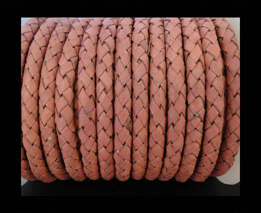 Round Braided Leather Cord SE/B/722-Rose - 6mm