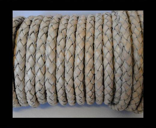 Round Braided Leather Cord SE/PB/Vintage White Grey - 6mm