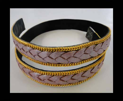 Braided Leather with golden chain-14mm-SE-M-PINK