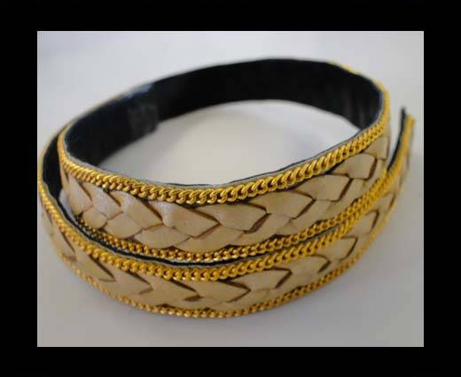 Buy Braided Leather with golden chain-14mm-SE-M-202 at wholesale prices