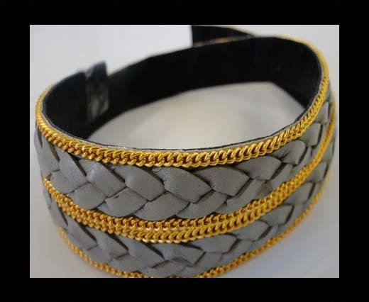 Buy Braided Leather with golden chain-10mm-SE-B-Light grey at wholesale prices