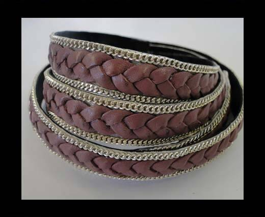 Braided Leather with silver chain--14mm-taupe