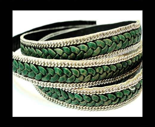 Buy Braided Leather with silver chain-10mm-SE.FPB.05 at wholesale prices
