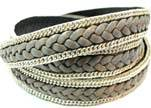 Braided Leather with silver chain-10mm-SE.FPB.23