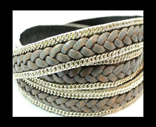 Buy Braided Leather with silver chain-10mm-SE.FPB.23 at wholesale prices