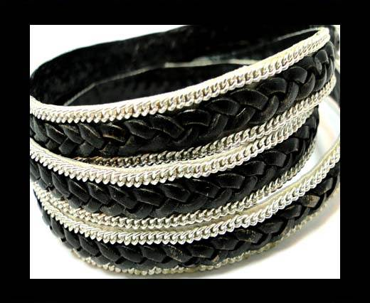 Braided Leather with silver chain-10mm-SE.FPB.Black