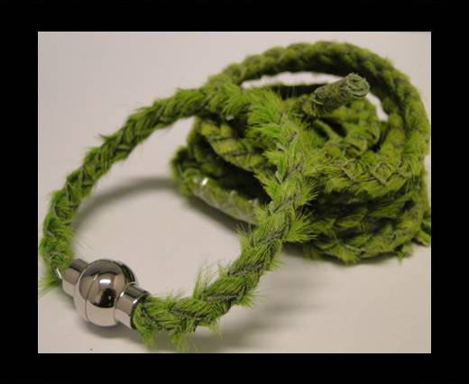 Braided Round Hair-on Leather-Grass Green-5mm