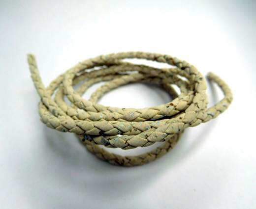 Real Cork Round - 5mm - Braided white