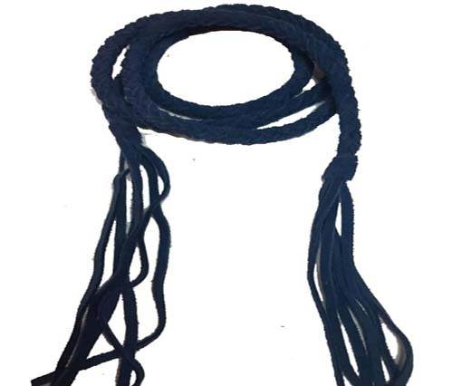Suede Braided Belts with tassels - 8mm round -dark blue