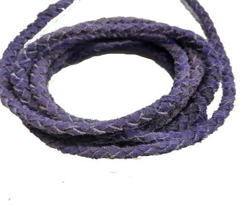 Suede Braided Leather Cords- Purple -5mm